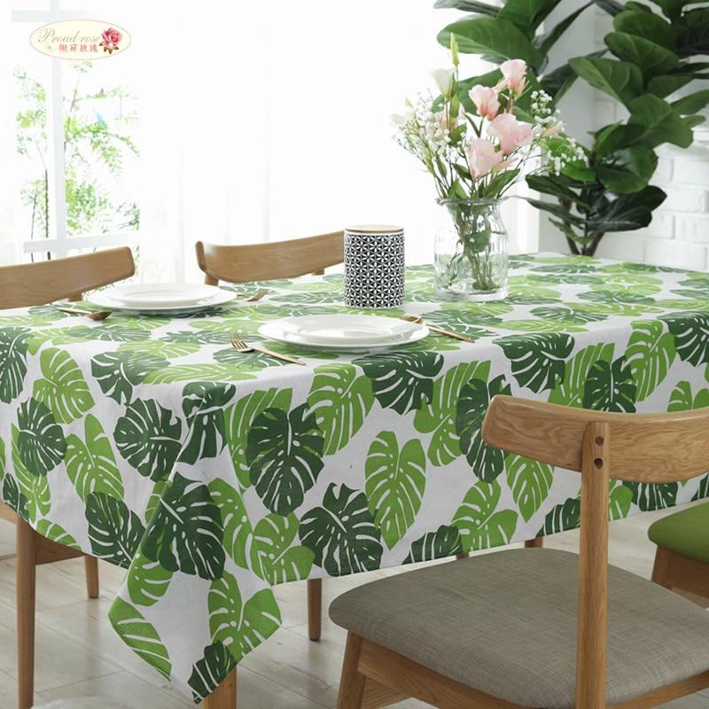 Гордая Роза зеленые листья льняная скатерть стол бегунок стул подушка банан лист печатных скатерти прямоугольный чайный столик полотенце