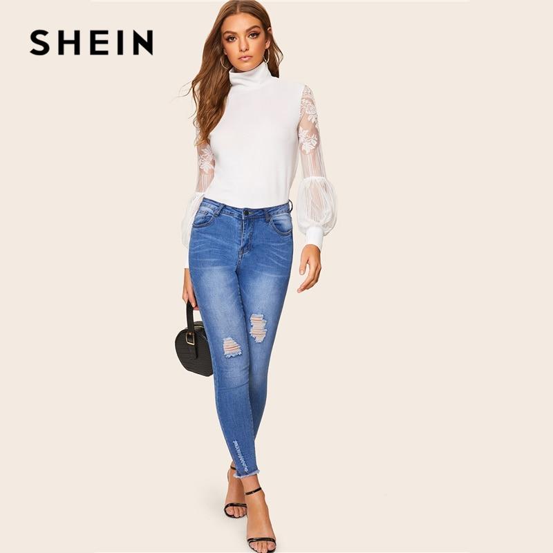 SHEIN Women High Neck Lace Lantern Sleeve Top Fashion Mesh Blouse Women's Long Sleeve Pattern Printing Ladies Tops 3