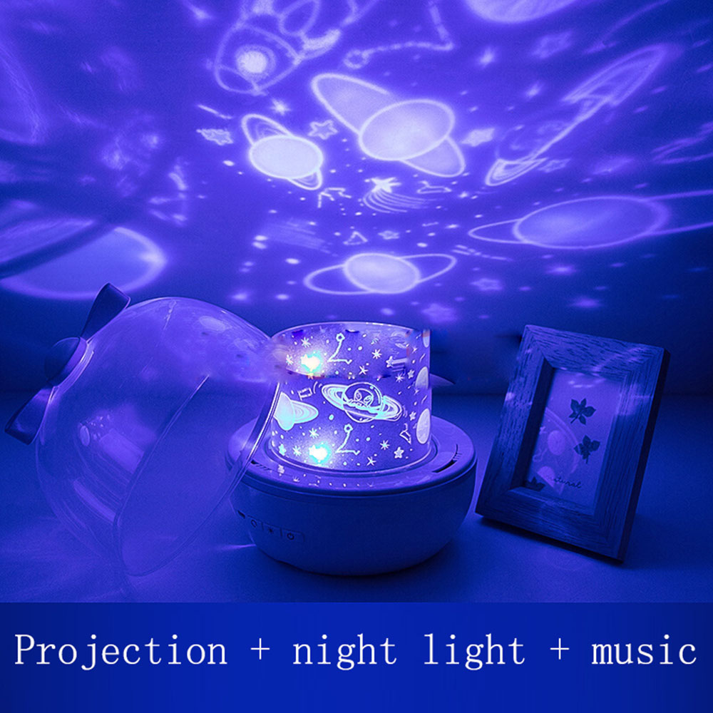 Multifunctional star projector night light creative dream romantic rotating music box usb charging projector