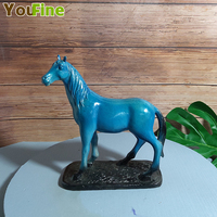 Bronze horse sculpture decoration blue sweat BMW landing horse home accessories living room study jewelry crafts
