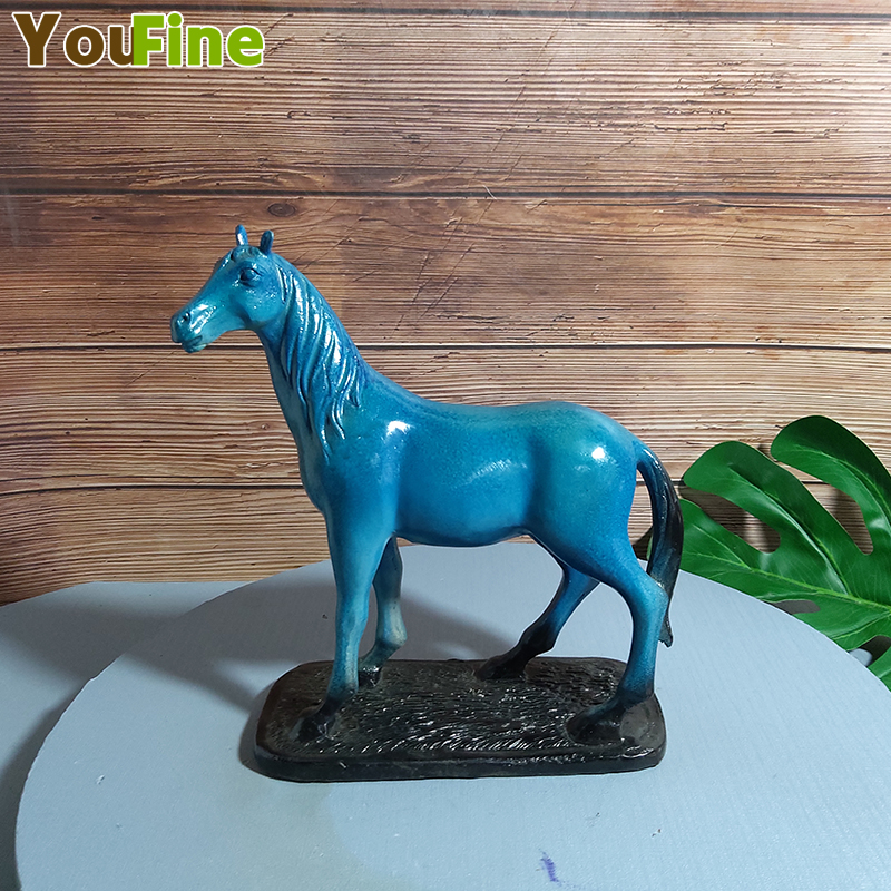 Bronze horse sculpture decoration blue sweat BMW landing horse home accessories living room study jewelry crafts image