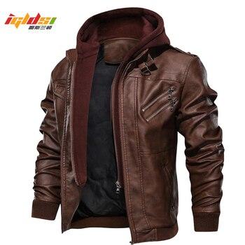 Męska jesień zima motocykl skórzana kurtka wiatrówka z kapturem PU kurtki mężczyzna znosić ciepłe kurtka bejsbolówka Plus rozmiar 3XL