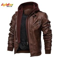 Mens Autumn Winter Motorcycle Leather Jacket Windbreaker Hooded  Jacke