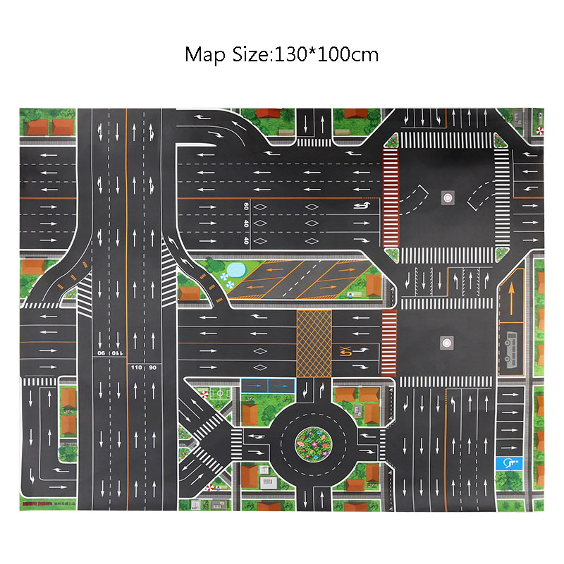 Waterproof Non-woven 130*100CM Large City Traffic Car Park Play Mat Kids Playmat Pull Back Car Toys For Children's Mat