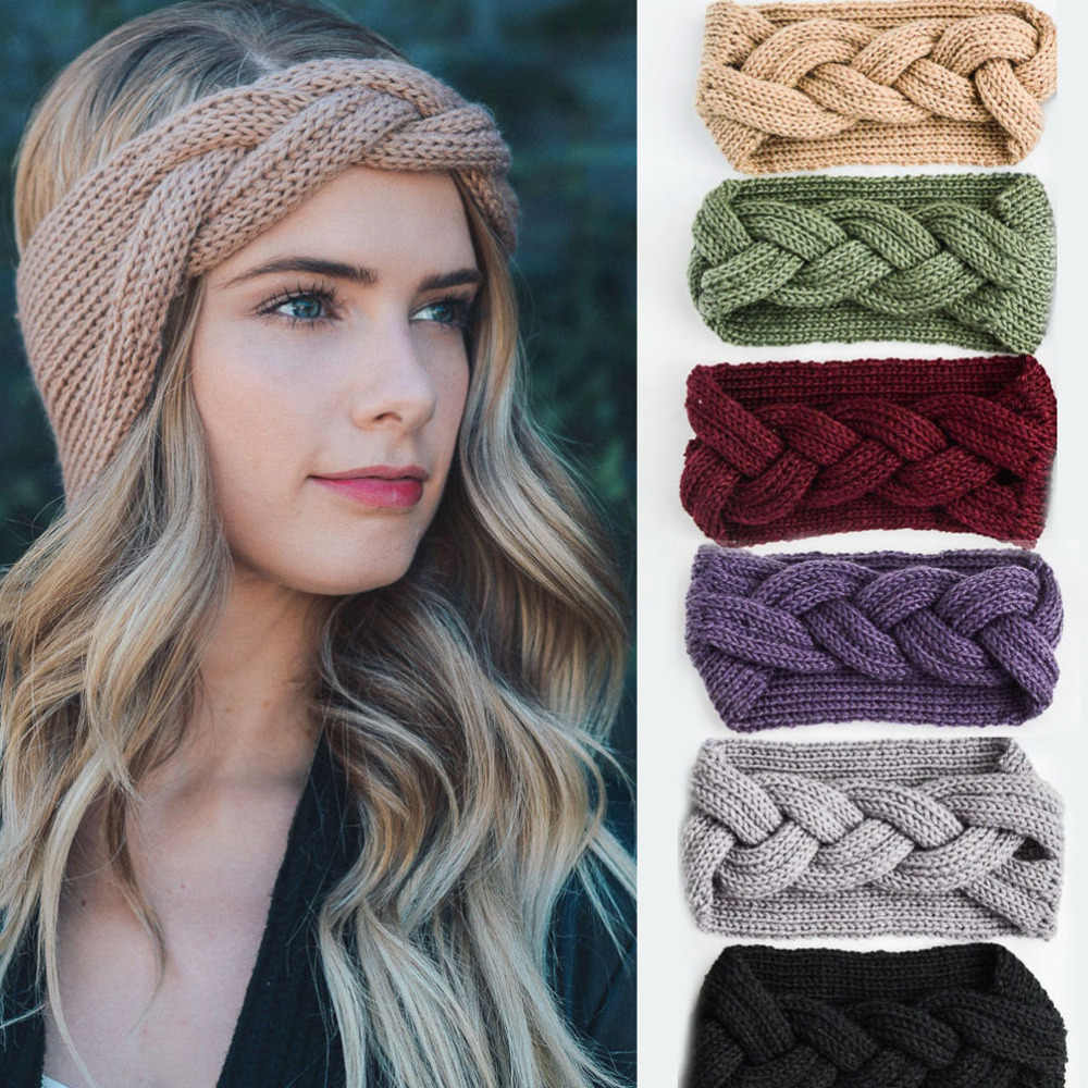 M MISM 2019 Big Bow Fish Bones Winter Girl Knit Headbands Warm Crochet Elastic Hair Band Handmade Turban Wide Size Headwear
