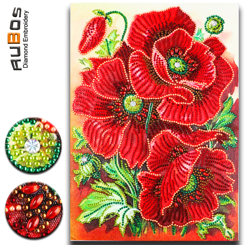 DIY 5D Diamond Painting Red Poppies Flowers Embroidery Art Dotz Gem Paint Bead Crystal Rhinestone Drill Picture Kits for Adults
