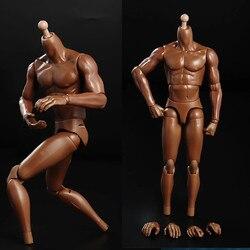 Экшн-фигурка Мужская Гибкая 1/6 из темной кожи, ПВХ, супер движущиеся руки, подходит для 1/6 мужских голов, лепка, игрушки