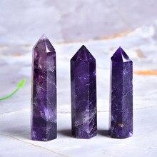 Naturalny ametyst punkt uzdrawiające kryształy kamień energetyczny naturalny kwarc Home Decor Reiki polerowane rzemiosło 50 80mm kamień rzeźbione 1PC