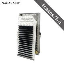 Nagaraku 4 ケース 7 〜 15 ミリメートルミックストレイ 16rows/トレイミンクまつげエクステンション、ナチュラルまつげ、個別つけまつげ繊毛ラッシュ