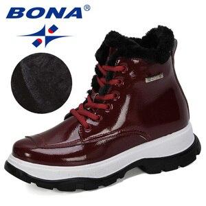Image 3 - BONA 2019 yeni tasarımcılar popüler İngiliz deri kalın yarım çizmeler bayan botları motosiklet botları bayanlar kış peluş çizmeler