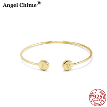 AC 925 Sterling Silver Personalized Letter Bracelets Engravable Double Signet Cuff Bracelet Bangle Valentine's Day Gifts Jewelry square faux gemstone double layered cuff bracelet