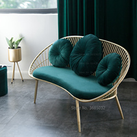 Customized Luxury Sofa with Pillow Double Soft Chair Golden Iron Leg for Clothing Store Coffee Shop Furniture for Livingroom