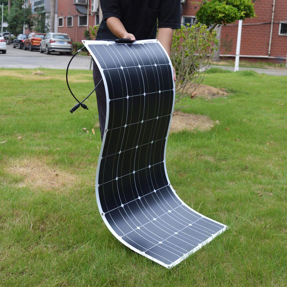 Гибкая монокристаллическая солнечная панель Dokio, 12 В, 100 Вт, для автомобиля, лодки, дома, солнечная батарея, может заряжать 12 В, водонепроницае...