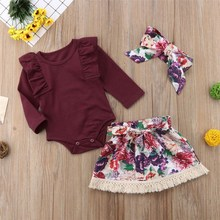 2 PCS/SET Princess Girl Clothes Set Fly Sleeve Romper +Floral Pants +Headband Autumn Wear 0-18m Clothing