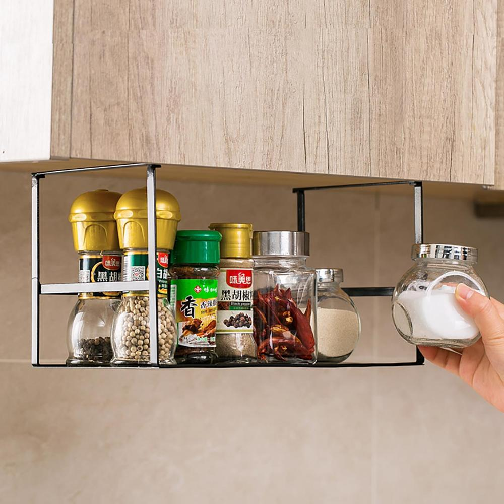 Kitchen Organizer Iron Hanging Storage Rack Shelf Cabinet Organizer Jars Bottles Holder Spice Rack Bedroom Closet Organization