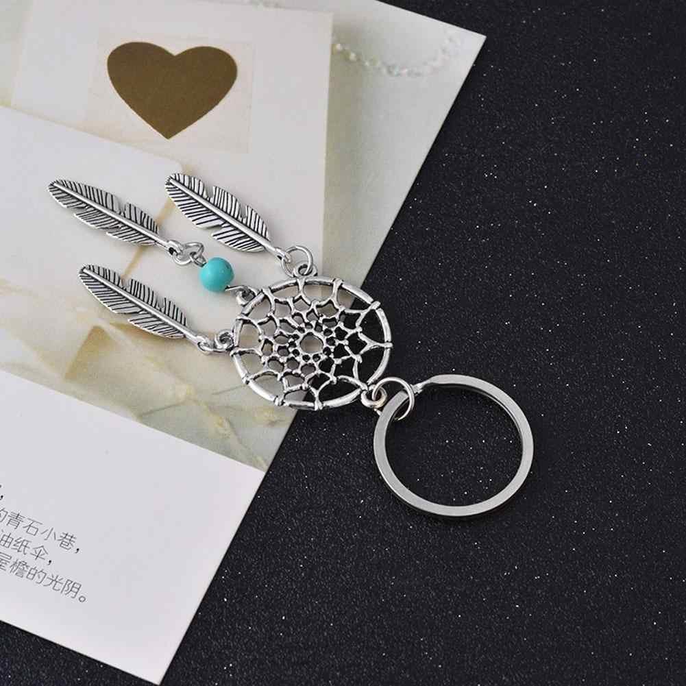 1PC แฟชั่น Dream Catcher Key CHAIN Silver TONE แหวน Feather Tassels จี้ Keyring พวงกุญแจของขวัญ Dreamcatcher จี้