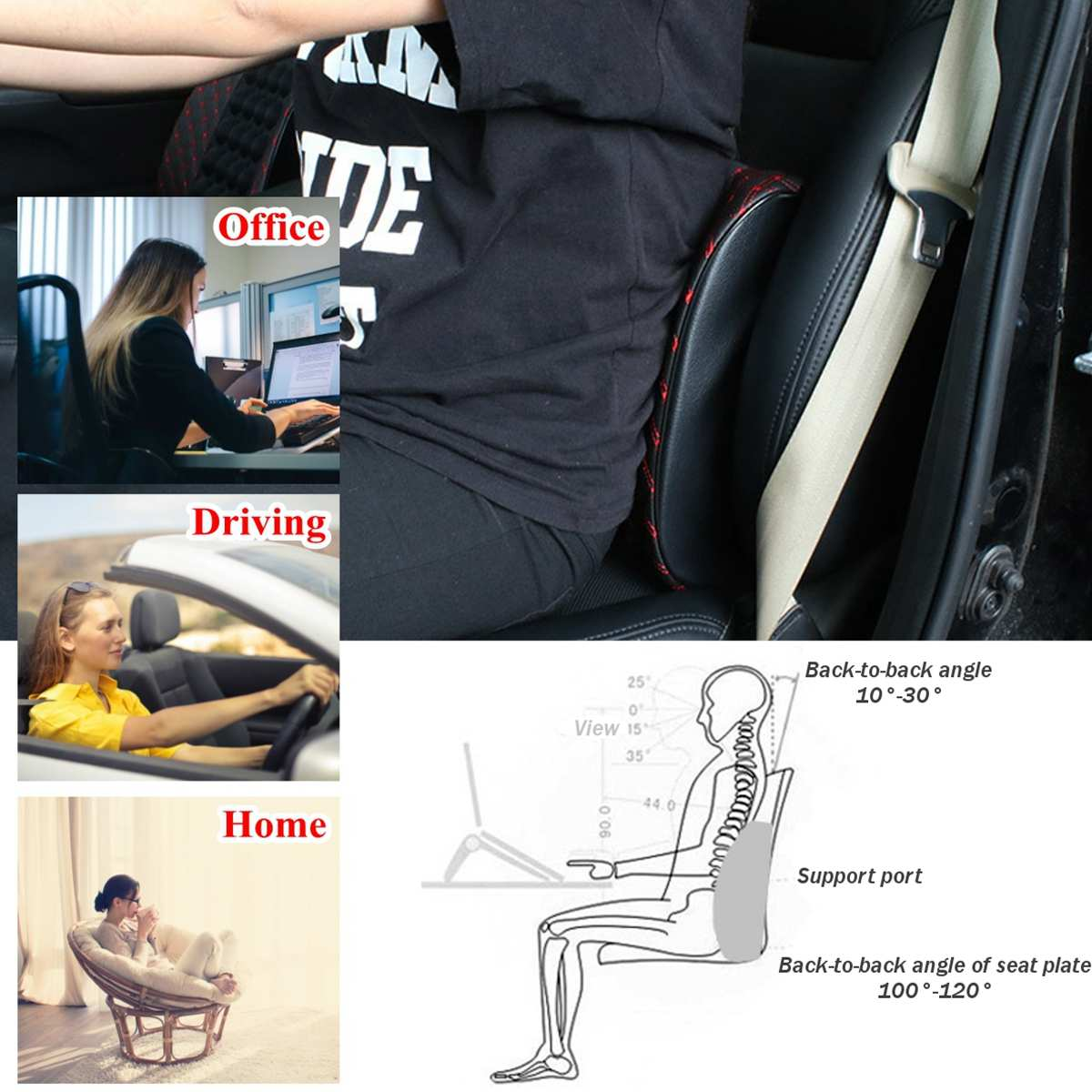 12V Car Massage Lumbar Cushion Car Electric Massage Cushion lumbar Massage Car Seat Back Cushion Waist support 1