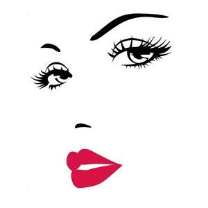 DIY samoprzylepne audrey hepburn's Sexy oczy i czerwone wargi pcv ściany dekoracyjne naklejki sypialnia salon kanapa TV tło