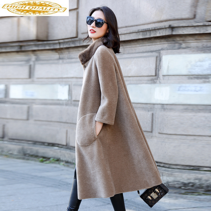 Real Sheep Shearling Fur Coat Female Mink Fur Collar Real Wool Coats 2020 Winter Jacket Women Long Korean Outwear MY3689