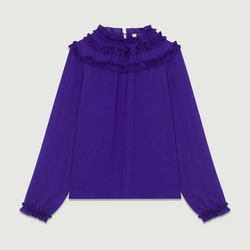 Women Purple Shirt O-Neck Collar Ruffled  Long Sleeve Office Lady Blouse 2020 New Spring Autumn Winter  Cloth