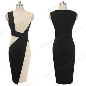 Image 5 - 素敵な永遠のヴィンテージコントラスト色パッチワーク着用して作業する vestidos ビジネスパーティーボディコンオフィスエレガントな女性ドレス B517