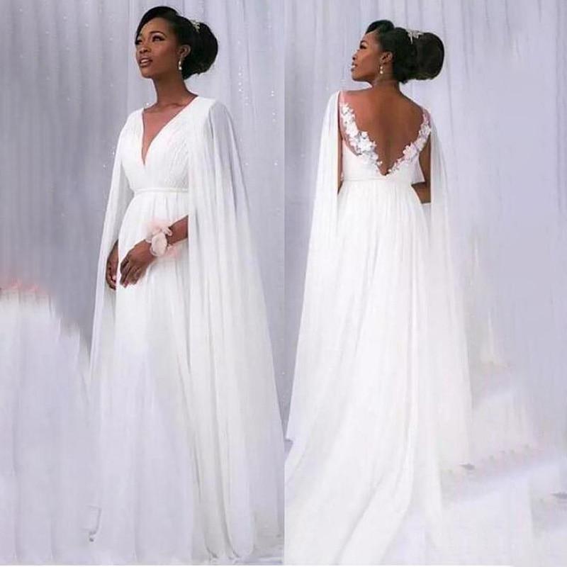 Beach Vestido De Noiva 2020 Wedding Dresses A-line Deep V-neck Chiffon Lace Boho Backless Dubai Arabic Wedding Gown Bridal