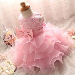 Vestidos de renda para meninas vestido de batismo bolo pérola esmagar roupas com arco roupas para o batismo 1 ano bebê menina vestido de aniversário