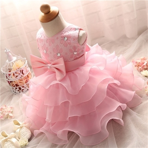Lace Dresses For Girls Christening Gown Pearl Cake Smash Outfits with Bow Clothes for Baptism 1 year baby girl birthday dress