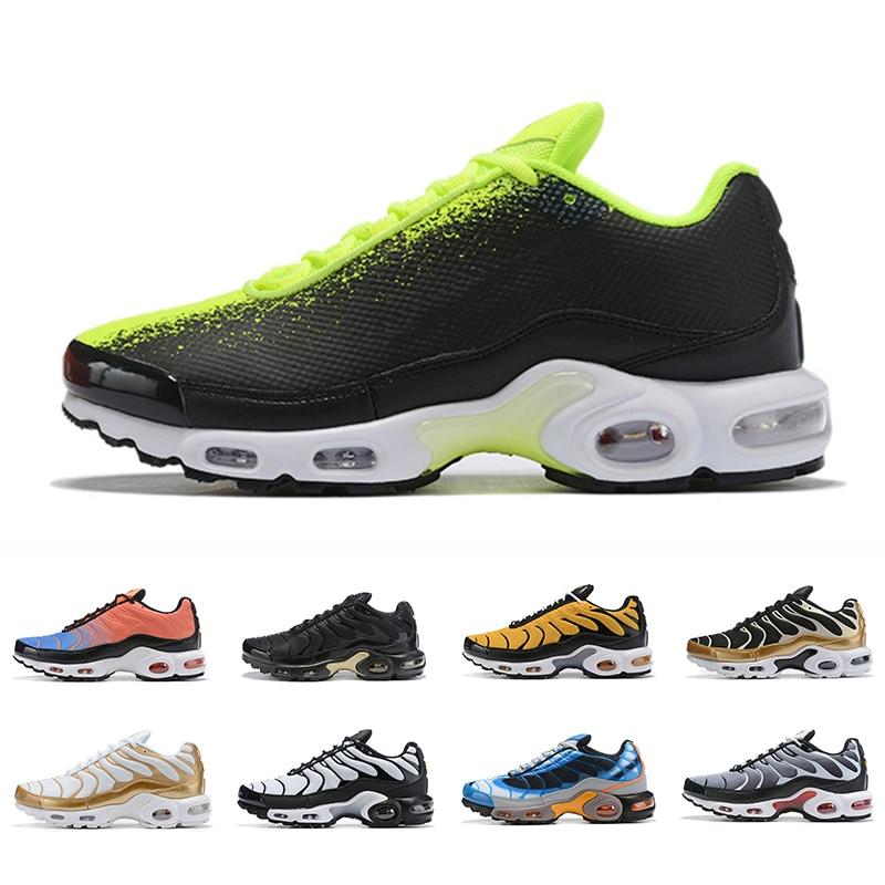 2019 Gold Fashion TN Plus Men Running Shoes Pink Triple Black Yellow Training Outdoor Sport Men Outdoor Trainers Zapatos Sneakin