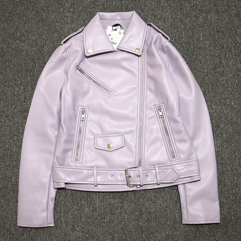 Hdd3214c53ced49b0a16b6e9c928f7c1cW Spring Autumn Women Faux Leather Jacket Ladies Solid With Belt Zipper Biker Coat Female Casual Outwear