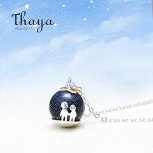 Thayaパーティーブルー砂利宝石の石のペンダントネックレスS925スターリングシルバー子供幼児ネックレス女性のためのシックなユニークなギフト
