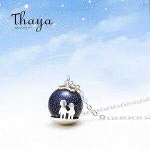 Image 1 - Thaya fête bleu gravier gemme pierre pendentif collier S925 en argent Sterling enfants enfance collier pour les femmes Chic cadeau Unique