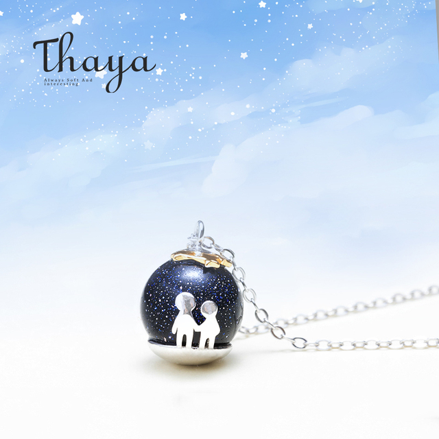 Thaya fête bleu gravier gemme pierre pendentif collier S925 en argent Sterling enfants enfance collier pour les femmes Chic cadeau Unique