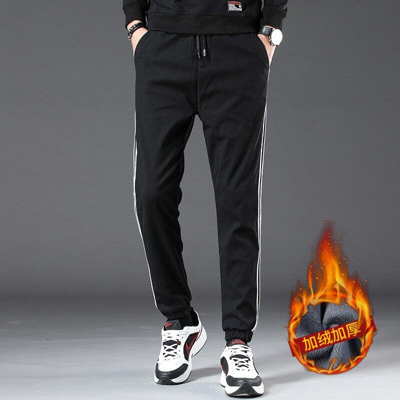 Plus Velvet Casual Pants Men's Autumn And Winter Fashion Mixed Colors Men'S Wear Pure Cotton Lace-up Elastic Pants Youth Korean-