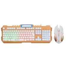 Computer Wired Gaming Keyboard and Mouse Combo Set LED Light Mechanical Feel  sades wired usb computer gaming metal mechanical keyboard and mouse set colorful backlight keyboard e sports gaming mouse combo