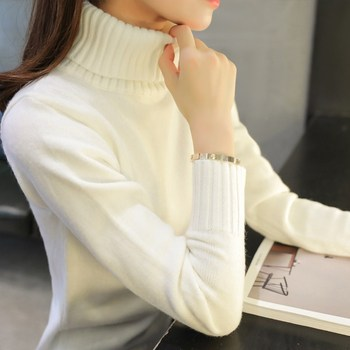 2019 New Autumn winter Women Knitted Sweaters Pullovers Turtleneck Long Sleeve Solid Color Slim Elastic Short Sweater Women 1