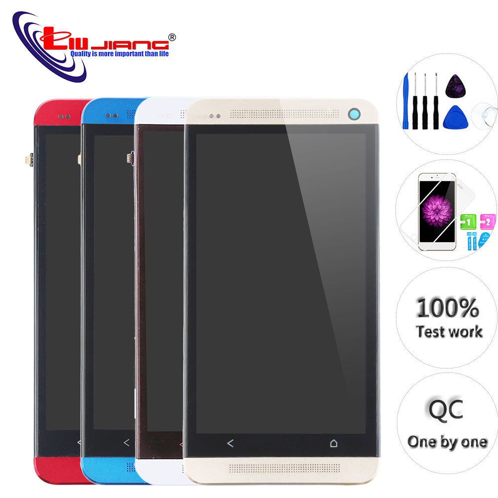 New LCD For HTC ONE M7 Display Touch Screen Digitizer With Frame Assembly 801E Single SIM 1920x1080 Replacement Repair Parts