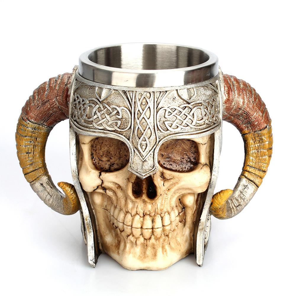 450ml Skull Coffee Mug Retro Horn Skull Resin Beer Mug Stainless Steel Cups and Mugs Halloween Gifts Bar Cup Drinking Tumbler