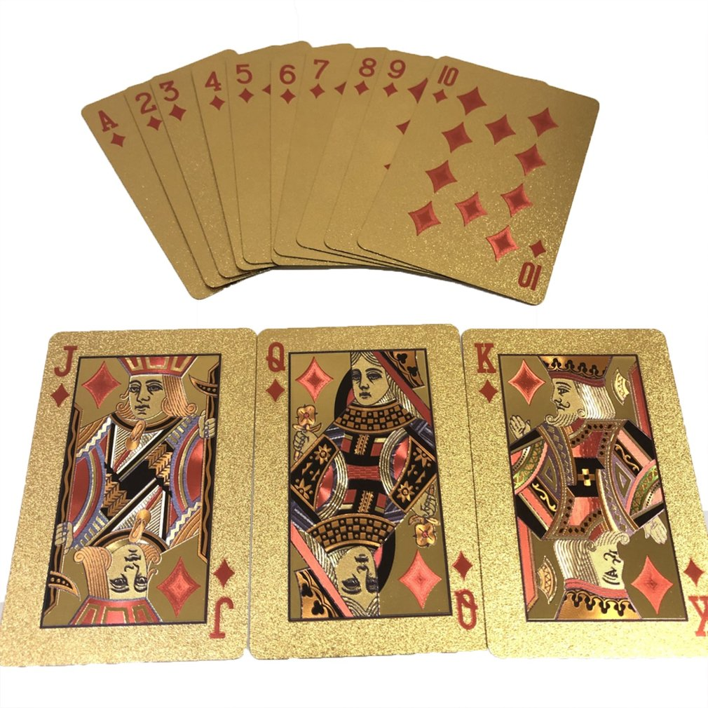 Golden Playing Cards Waterproof Design Durable Use Plastic Foil Poker Playing Magic Cards Best Gift Gambling Table Games Vip