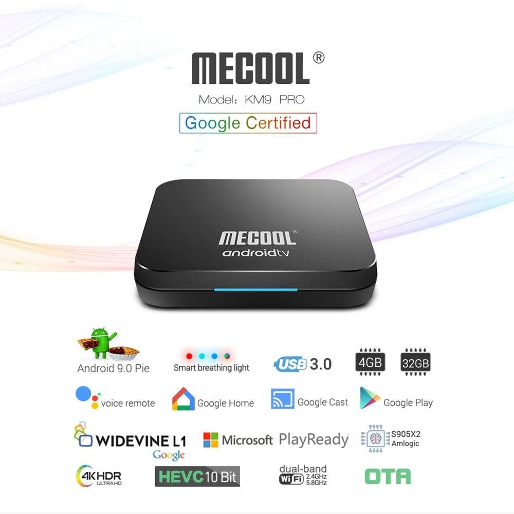 MECOOL KM3 ATV Androidtv 9,0 certificado por Google Android 9,0 TV Box 4 GB 64 GB Amlogic S905X2 4 K 2,4G 5G Dual Wifi BT4.0 Set Top Box - 4