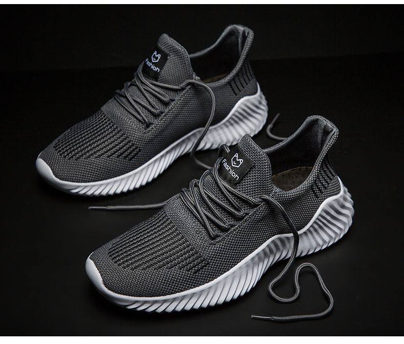 KJEDGB 2020 New Ultralight Men Casual Shoes Solid Black White Gray Breathable Comfortable Sneakers Big Size 39-47 Male Shoes