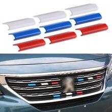 9 шт., автомобильная передняя решетка, крышка для гриля, отделка, французский флаг, цвет, подходит для Peugeot 301 4008 308 408 508