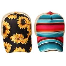 Ponytail Baseball-Cap Sunflower-Rainbow Cross Hollow-Out Stripes Women Mesh Bun Splicing