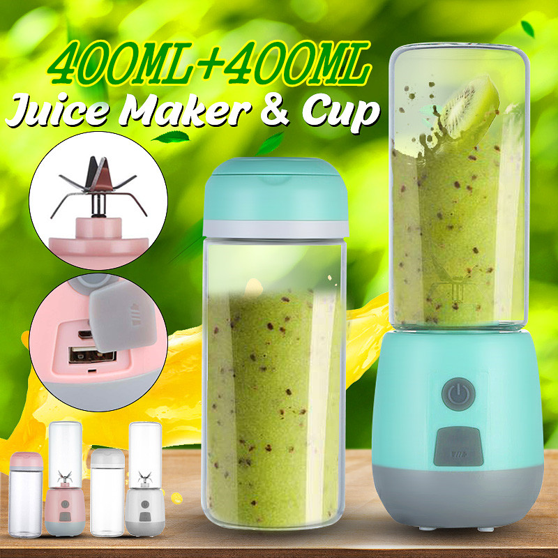 Multi-function Portable Juicer Electric USB Rechargeable Smoothie 6 Blenders Cute 400ml Fruit Juice Cup Food Maker Home