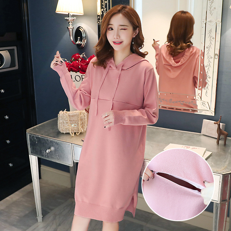 Breastfeeding Dress Autumn Casual Loose Long-sleeved Hooded Pregnant Dress Breastfeeding Knit Sweater Vestido Feeding Clothes
