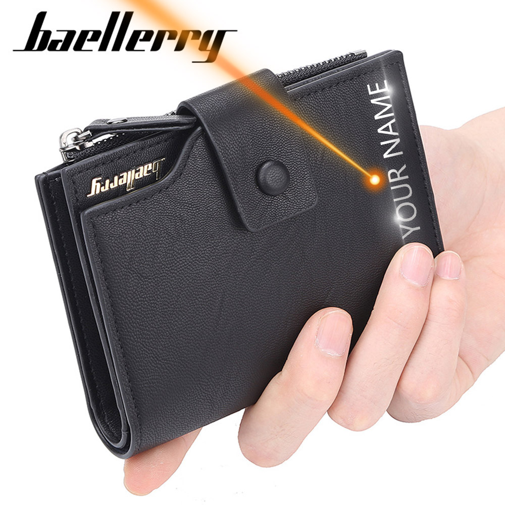 2019 Baellerry Business Men Wallets Card Holder Short Desigh Zipper Men Leather Purse Solid Coin Pocket High Quality Male Purse