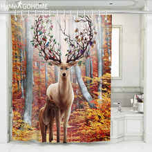 купить Forest Elk Print Shower Curtain for Bathroom Polyester Waterproof Fabric Bath Shower Curtain Tree Scenic douchegordijn landschap по цене 659.32 рублей