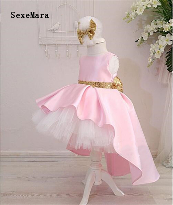 New pink high low   flower     girl     dresses   with gold sequined bow puffy tutu 1st baby birthday party gown kids graduation   dresses