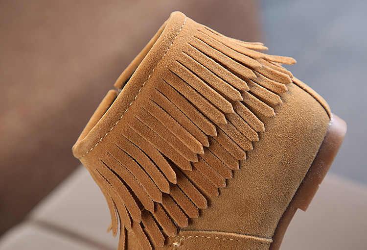 MXHY sonbahar ve kış yeni kız ayakkabı kore versiyonu kısa çizmeler püskül çizmeler sıcak prenses deri çizmeler kızlar çizmeler