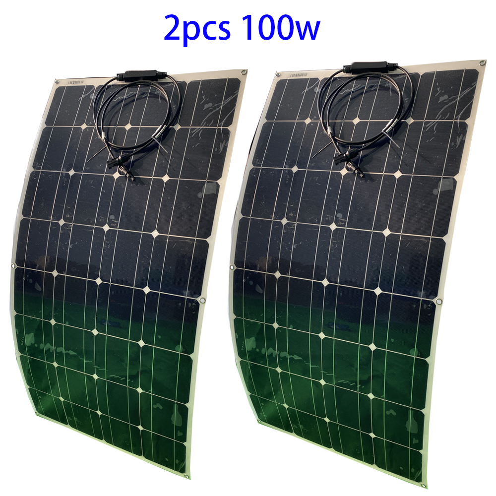 <font><b>100w</b></font> 18V Monocrystalline <font><b>Solar</b></font> <font><b>panel</b></font> <font><b>solar</b></font> cell for <font><b>12V</b></font> battery charger <font><b>100W</b></font> flexible <font><b>solar</b></font> <font><b>panel</b></font> RV Home Boat system Kit image